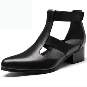 Sommer Herren Sandalen spitz zee High Heel 5 cm Höhe Erhöhen Aufzug Männer Schuhe Echtes Leder Mode Classic Sandalen 36-441