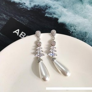 copper gold plated white black blue champagne color pearl long earrings for women new arrival hot selling luxury fashion jewelry