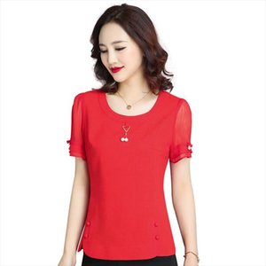 Women Casual Spring Summer Style Chiffon Blouses Shirts Lady Elegant Short Sleeve O Neck Blusas Tops Shirts DF2398