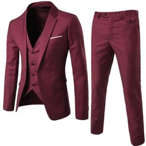Burgundy Mens Suits Groom Wear Tuxedos 3 Piece Wedding Suits Groomsmen Best Man Formal Business Suit For Men (Jacket+Pant +vest)