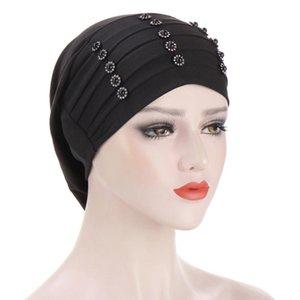 Women Solid Beading India Hat Muslim Ruffle Cancer Chemo Hat Beanie Wrap Cap