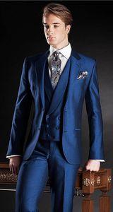 2020 Latest Coat Pant Designs Navy Blue Italian Suits Stain Custom Notched Lapel Prom Dress Blaze 3 Pieces Tuxedo Terno F