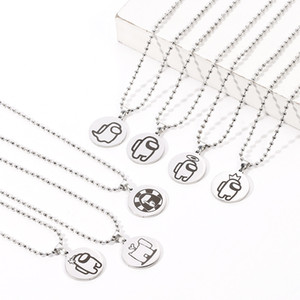 Among Us Hot Game Chase Necklace Peripherals Toys Stainless Steel Keychain Pendant Xmas Gift For Couple Kid