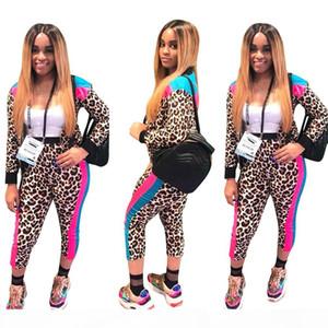 2018 Women Leopard Print 2 Piece Set Tracksuit Zipper Multi Long Sleeve Jacket and Nine Capris Pants Outfits Casual Pants Set