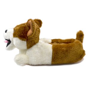 Millffy Classic plush Corgi Slippers Plush Dog Animal Slippers Brown and white Costume Footwear 201203