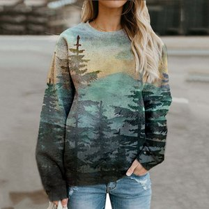 Real Green Forest Print Oversized Crewneck Sweatshirt Women Vintage Casual Loose Sport Winter Thin Tops 2020 New Girls Plus Size F1204