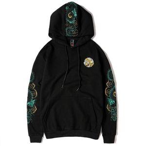 New Embroidered Chinese Dragon Hooded Sweatshirts Pullover Hoodies Men Women Harajuku Hip Hop Streetwear Hoodie Male Tops Y201123