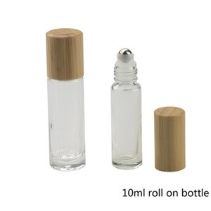 Bamboo Lid Cap Roll on Ball Glass Roll on Bottle Portable Essential Oil Bottle With Stainless Steel Roller Ball 10ml SEA SHIPPING FWE2987