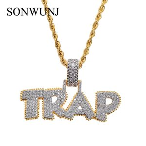 Brass CZ Jewelry Hip Hop TRAP Letter Pendant Copper Micro pave with Zircon stones Necklace CN042