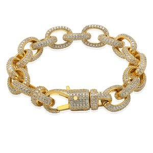 Wholesale-Elliptical Twisted Large Button Bracelet Zircon Men's Bracelet Personality Hip-hop Trendy Bracelet 7I inch 8inch Hot