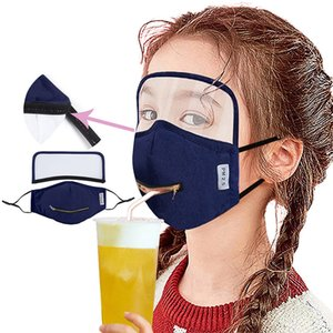 2 in 1 Draw Drinking Face Mask With Adjustable Zipper Adult Kid's Designer Eye Shield Dustproof Mouth Cover Washable Face Masks GWA2509