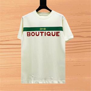 Styliste mode mens t-shirt rouge rayures vert manches courtes tshirt hommes hommes femmes couples coton twees