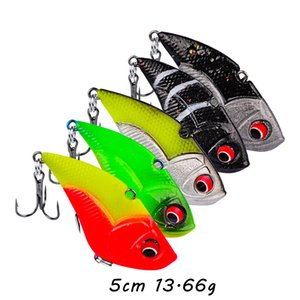 5 Color Mixed 5cm 13.66g 3D Eyes VIB Jigs Soft Baits & Lures 8# Hook Fishing Hooks Artificial Bait Pesca Fishing Tackle SF_229