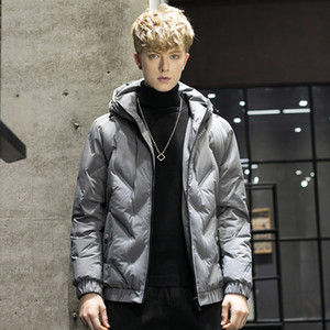 Trend New Hooded Simple Fashion 80 Fleece Jacket Men's Warm Down Jacket Men Hooded Collar Coat Men US Size