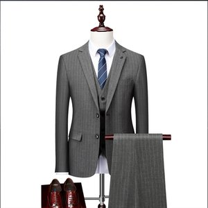 Autumn And Winter New Men's Business Leisure Suit Korean Slim Wedding Suit Men's Stripe Three Piece Suit