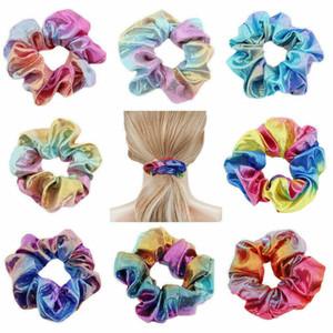 12 colors Tie dye laser Scrunchie Women Girls Elastic Hair Rubber Bands Accessories Women Tie Hair Ring Rope Ponytail Holder Headdress Z1994