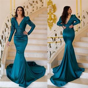 2021 Mermaid Evening Dresses with Long Sleeves V Neck Elegant Satin Backless Prom Party Gowns Saudi Arabia Dubai Beaded Formal Dress AL8339