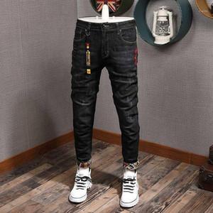 Fashion Streetwear Men Jeans Slim Fit Black Elastic Ripped Jeans Men Japanese Patches Designer Denim Pants Hip Hop Homme1