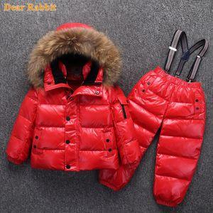 -30 grados Rusia Invierno Ski Ski Jumpsuit Niños Ropa para niños Niñas Sport Suit Niños Snow Ost Chaquetas Abrigos Pantalones de babero Impermeable 20123