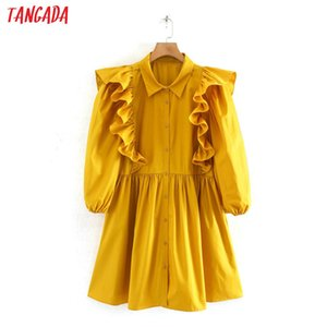 Tangada summer fashion women yellow pleated mini dress short sleeve ladies vintage office lady dress vestidos 2W110 J1215
