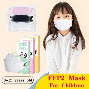 KF94 FFP2 FFP2 máscara protectora con polvo y transpirable para niños con máscara para niños Máscara para niños Paquete independiente con caja