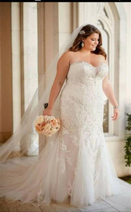 American Women Plus Size Wedding Dresses 2021 Sleeveless Lace Appliques Custom Made Big Girl Mermaid Brdial Gowns robe de mariee