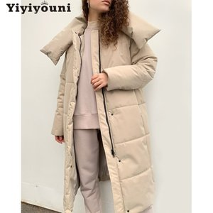 Yiyiyouni Oversize Thick Long Parkas Women Winter Warm Button Pockets Cotton Coat Female Wide-Waisted Straight Outerwear 201125