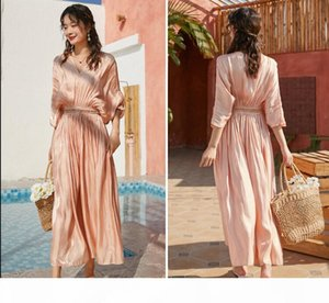 2020 Sexy V Neck Luxury Pink Chanpagne Glitter Shiny Long Party Dresses Lady Vintage High Waist Pleated Casual Dress Boho Vacation New