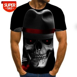 2020 European and American style fashion short-sleeved men's T-shirt skull geometric 3D digital printing short sleeves #9m1Y