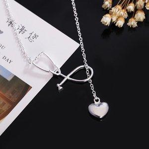 Ginstonelate encantos boda color plata color collar doctores estetoscopio lariat joyería linda bonita dama regalo h bbypmi