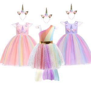 Fancy Unicorn dress up clothes Girls Unicorn party Dancing Dress Kids Christmas Rainbow Dress Girls Princess Costume & headband F1202