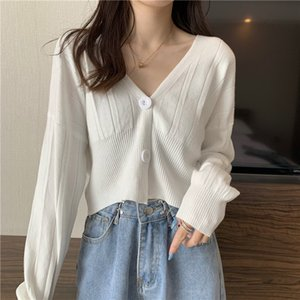 Spring Autumn Women's Knitted Sweater V-Neck Solid Short Cardigans Crop Tops Open stitch Clothing T2059 H1211