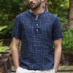 feitong Men Shirts Blouse Summer Tops 2020 Vintage Splicing Button Linen Solid Short Sleeve Retro Cool Thin Breathable Shirt Men