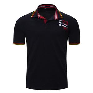 Été Hommes Solid Color Polo Polo revers manches courtes pour Mens Casual Travail T-shirt Tableau M-3XL
