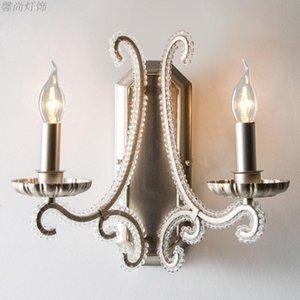 American Country Crystal Double Head Style Style Style Soggiorno in ferro battuto Camera da letto retrò argento Creativo lampada da parete corridoio
