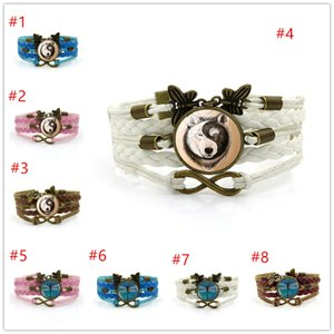 Time Gem Series Bractele Weave Рука Украсить Многослойное Плетеное Стеклянное Сочетание Вольф Кошка Ретро Янтарь Blue Dragonfly Браслет