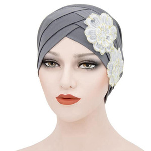 Bulk 10pcs lot beanie cap forehead cross flower hat Arab Muslim women turban headwrap female hair bonnets TB-74