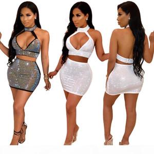 Bling Women Two Piece Skirt Sets Sexy Rhinestone Club 2 Piece Dresses Halter Zipper Deep V Crop Top Mini Skirts Outfits White Black