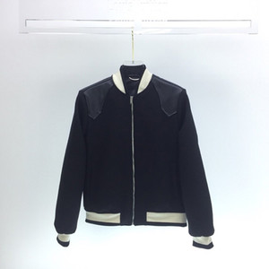 Europa Moda Autunno Inverno Uomini Donne Leather Shoulder Patchwork Baseball Zipper Jacket Coat