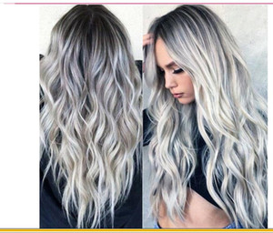 Popular European and American bleaching and dyeing long curled hair cos gray gradient animation Wig New Female chemical fiber headgear