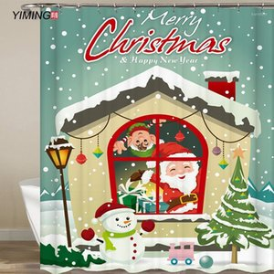 Yiming Merry Christmas Christmas Doccia Doccia Tenda Impermeabile Poliestere Home Decor Tenda con Hook Lavabile 200 * 180cm1