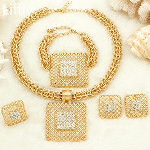 Liffly Bridal Gift Fashion African Jewelry Sets Big Chain Pendant Necklace Dubai Gold Jewelry Set for Women J1202