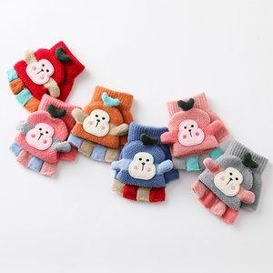 Cartoon Fingerless Gloves Kids Winter Warmer Mitten Knitted Thick Warm Flip Half Finger Gloves for Workout Christmas Gift Kimter-X975FZ