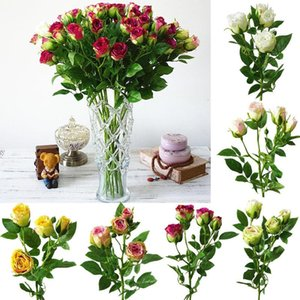 1Pc 4 Heads Artificial Flower Rose European Style Silk Fake Flowers For Garden DIY Stage Party Wedding Holiday Craft Decoration
