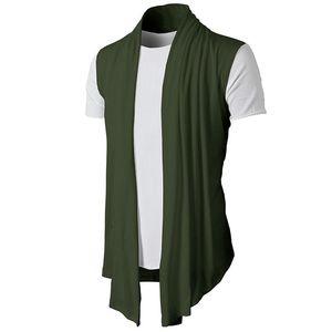 2020 Spring Summer New Personality Joker Solid Color Sleeveless Casual Men's Cardigan Fine Cardigan Hip Hop Vest Y1