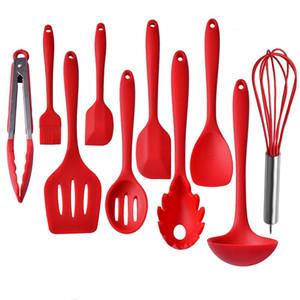 Utensílios de cozinha de silicone 10 peça resitante calor cozinhar cozinhar set spatula colher ladle servidor slotted turner ferramentas de cozimento