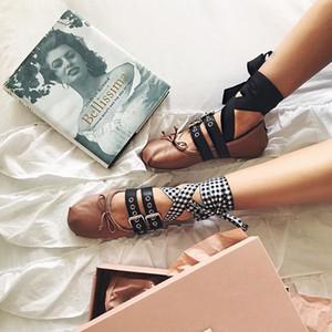 Teahoo Ayak Bileği Deri 2 Toka Kayış Bowtie Bale Ayakkabı Kadınlar için Rahat Yumuşak Sığ Balerin Flats Q1207