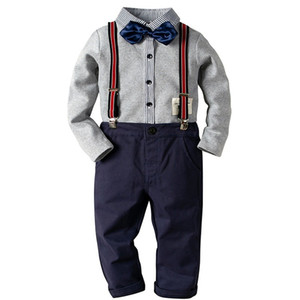 Baby Boy Clothes Boys Clothing Set Shirt+Pants Long Sleeve Shirt Gentleman Two Suits Bow Tie Costume Kids Clothe Party Dress