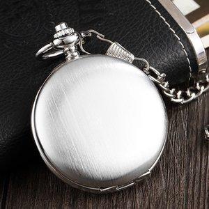Luxus Silber Smooth Dial Mechanische Taschenuhr Männer Römische Ziffernuhr mit Kettenskelett Luxus Retro Hand Wind FOB Uhr T200502