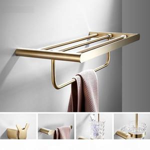 304 الفولاذ المقاوم للصدأ ناعم الذهب حمام الأجهزة مجموعة تول بار اكسسوارات الحمام فرشاة الذهب حامل ورق التواليت رداء هوكس yxlFUp